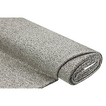 Strickstoff Bouclé mit Silberschimmer, grau/schwarz