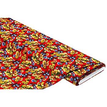 Viskose-Blusenstoff / Javanaise 'Blumen', rot-color