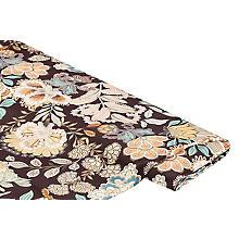 Tissu satin en viscose pour blouses 'fleurs', marron multicolore