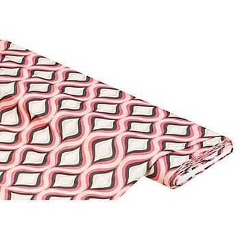 Tissu satin pour blouses 'losanges rétro', rose multicolore