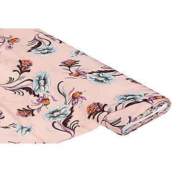 Viskose-Blusen-Satin 'Blumen', rosa-color