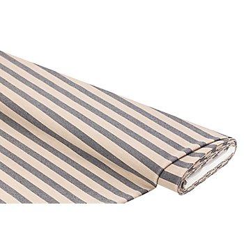 Tissu stretch en coton 'rayures', chamois/bleu