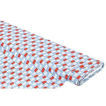 Viskose-Blusenstoff – Javanaise 'Kästchen', blau-rot-weiß
