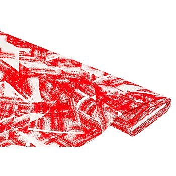 Tissu viscose pour blouses - tissu javanaise 'Modern Art', rouge/blanc