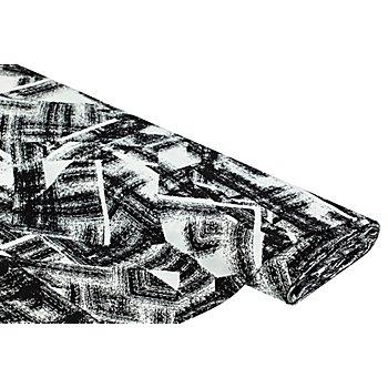 Viskose-Blusenstoff – Javanaise 'Modern Art', schwarz-weiß