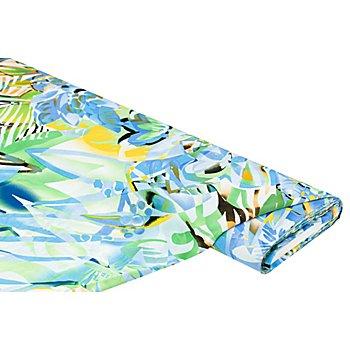 Viskose-Blusenstoff – Javanaise 'Blume', blau/gelb/grün