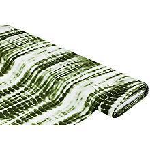 Viskose-Blusenstoff – Javanaise 'Batik', olivgrün-weiß