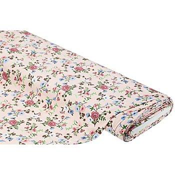 Tissu jersey bio 'fleurs' avec de l'élasthanne, rose