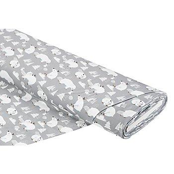 Tissu jersey en coton bio avec de l'élasthanne 'ours polaire', gris multicolore