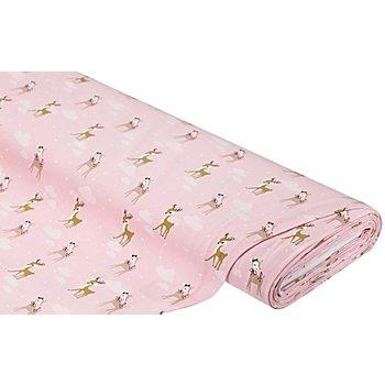 Tissu jersey bio 'faon' avec de l'élasthanne, rose clair