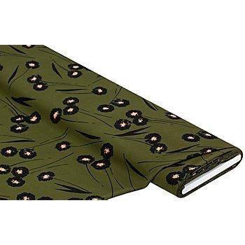 Blusenstoff 'Blumen', olivgrün/schwarz