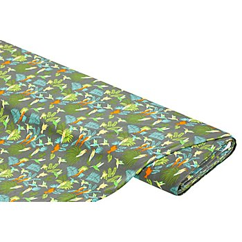 Tissu jersey en viscose 'colibri', taupe/multicolore