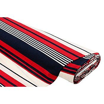 Strickstoff 'Streifen', rot/ecru/marine