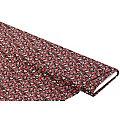 """Tissu jersey extensible """"fleurs"""", noir/rouge"""