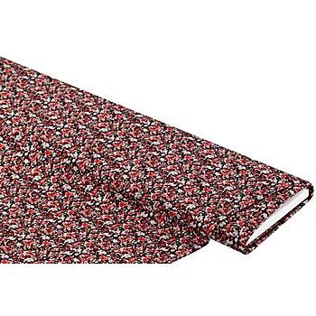Tissu jersey extensible 'fleurs', noir/rouge