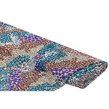 Tissu jersey extensible 'fleurs', blanc/multicolore