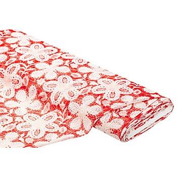 Spitzenstoff 'Floral', rot/weiß