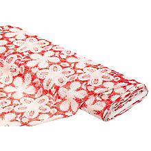 Tissu dentelle 'floral', rouge/blanc