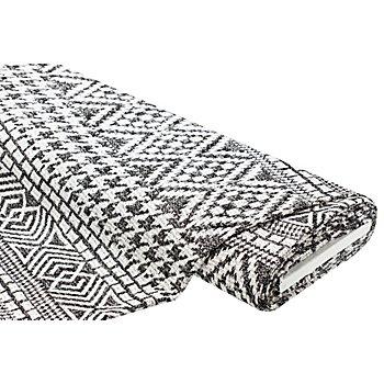 Tissu maille avec fil métallique, noir/blanc délavé