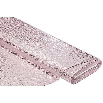 Baumwolljersey mit Foliendruck 'Zacken' mit Elasthan, rosa/silber