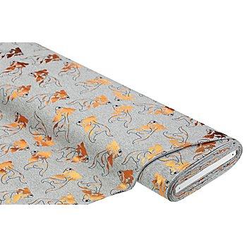 Elastik-Jersey mit Foliendruck 'Koi Fische', grau/kupfer