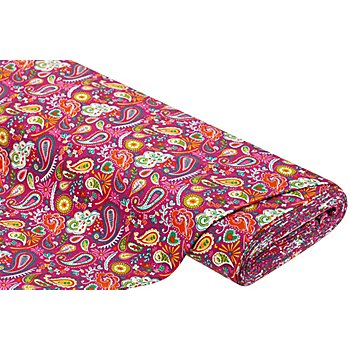 Tissu molleton french terry 'Paisley', rose vif/multicolore