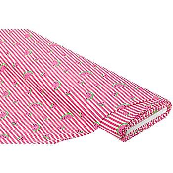 Baumwolljersey 'Melone & Ringel' mit Elasthan, pink/offwhite