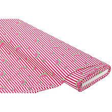 Tissu jersey 'pastèque & rayures' avec élasthanne, rose vif/blanc délavé