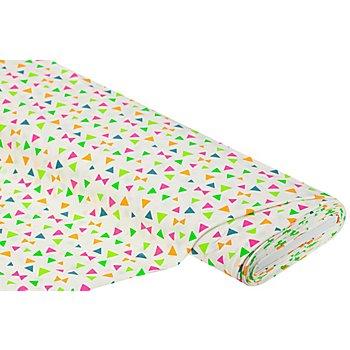 Baumwolljersey 'Neon-Dreiecke' mit Elasthan, offwhite-color