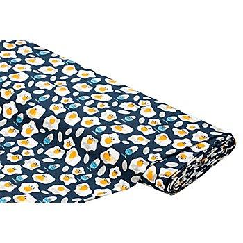 Bio-Baumwolljersey 'Lustige Eier' mit Elasthan, blau-color