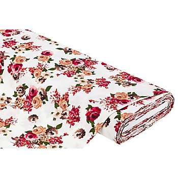 Viskose-Blusenstoff 'Rosen' mit Crinkle-Struktur, weiss-color