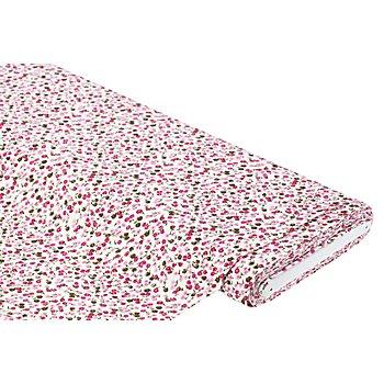 Tissu twill en viscose 'fleurettes', blanc/rose