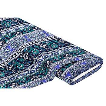Viskose-Blusenstoff 'Blumenbordüre' mit Crinkle-Struktur, blau/grün