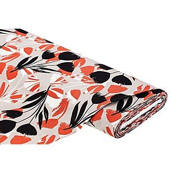 Tissu viscose-lin 'tulipes', taupe multicolore