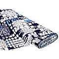 "Tissu jersey en viscose ""motif graphique"", bleu marine/gris/bleu clair"