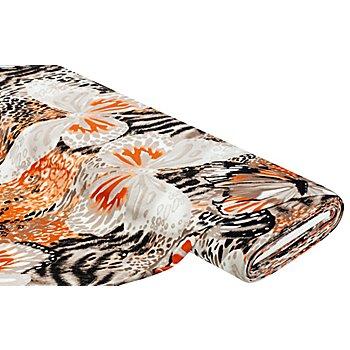 Viskose-Jersey 'Leo & Blumen', braun/orange
