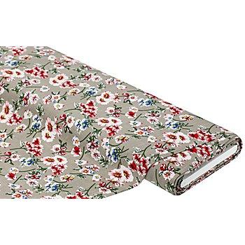 Viskose-Stretch 'Blumen', taupe-color