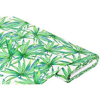 Tissu Viscose stretch 'plantes', blanc délavé