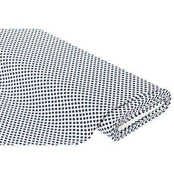 Tissu extensible 'petites fleurs', blanc délavé/bleu