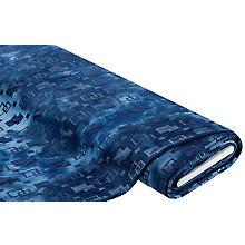 Elastik-Jersey 'Rechtecke' in Batik-Optik, jeansblau