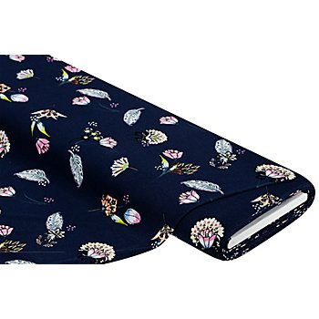 Tissu jersey en viscose 'fleurs', bleu marine/multicolore