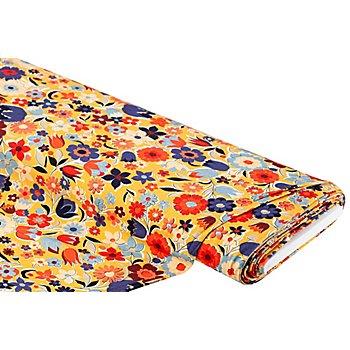 Tissu jersey en coton 'fleurs' avec de l'élasthanne, jaune