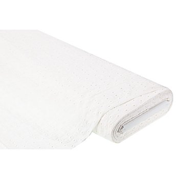 Tissu coton avec broderies anglaises 'carreaux', crème
