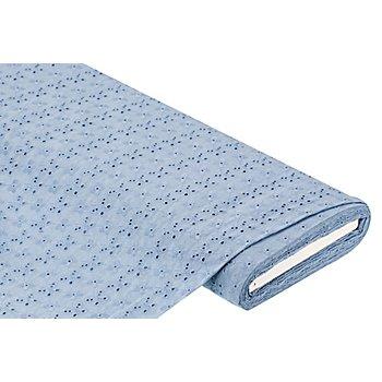 Tissu coton avec broderies anglaises 'papillons', bleu clair
