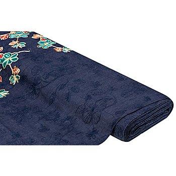 Bestickter Jeansstoff 'Blumen' mit Bordüre, dunkelblau-color