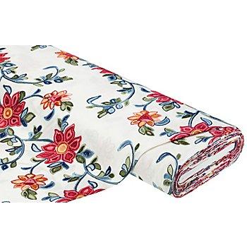 Viskose-Leinen bestickt 'Blumen', ecru-color