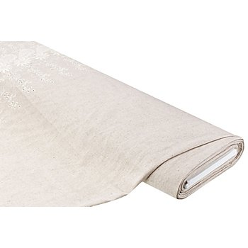 Tissu viscose/lin avec bordure brodée, écru