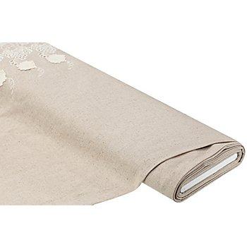 Tissu viscose/lin avec bordure brodée, crème