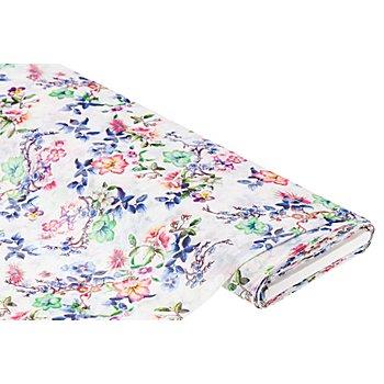 Blusen-Voile 'Blumen' in Crash-Optik, digital bedruckt, weiß-color