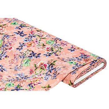 Tissu voile 'fleurs' aspect froissé, à impression numérique, saumon/multicolore